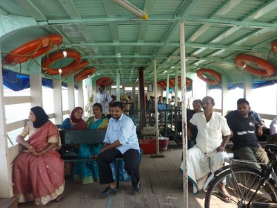 inside ferry boat in mattancherry